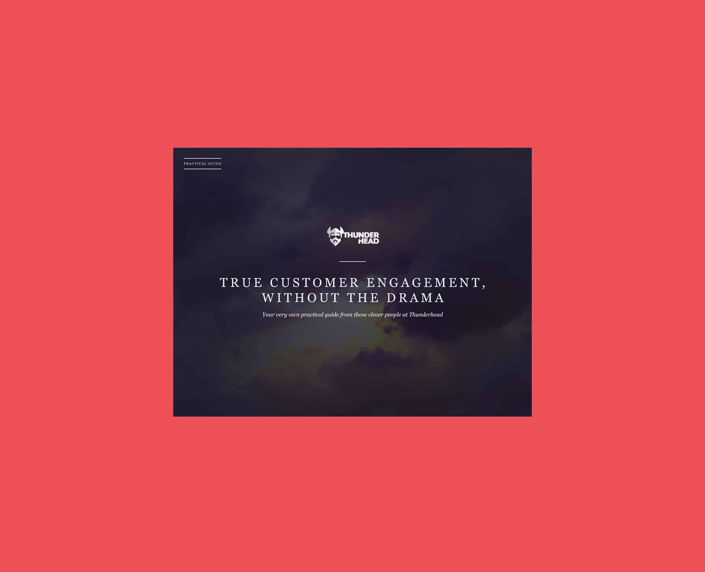 A screenshot of the customer engagement PDF on a pink background